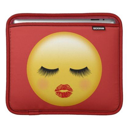 Resting Emoji With Red Lips Eye Lashes Girly Ipad Sleeve