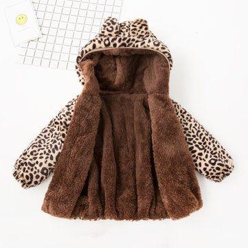 ليوبارد طباعة بنات مقنع معطف الشتاء رشاقته ل 1 Y 7y Girls Outerwear Winter Hats Fashion