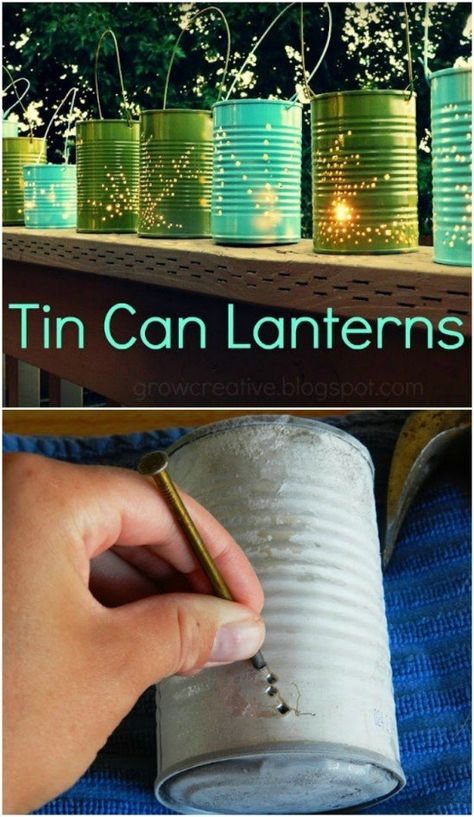 20 DIY Garden Lighting Projects To Beautifully Illuminate Your Outdoors Recycled Tin Can Lanterns Garden Lighting Projects, Garden Lighting Diy, Lighting Ideas, Outdoor Lighting, Backyard Lighting, Garden Crafts, Diy Garden Decor, Recycler Diy, Tin Can Lanterns