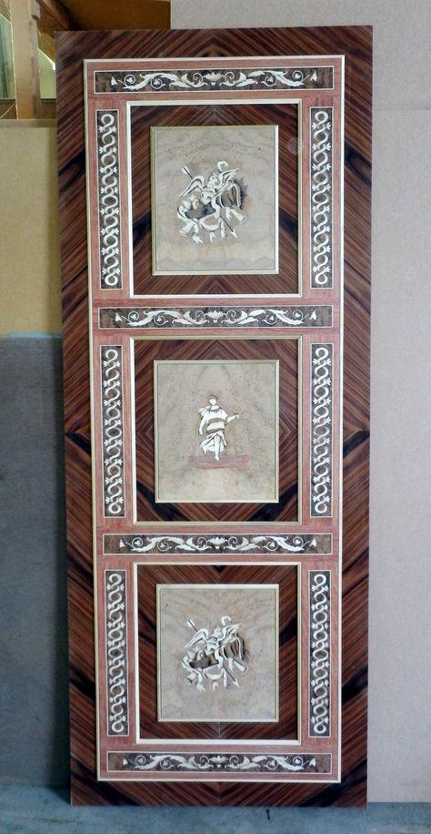 """Pannello intarsiato per porta scorrevole mod. """"Acquile"""" Inlaid panel for sliding door mod. """"Eagles"""" info@mobiliaresi.com"""