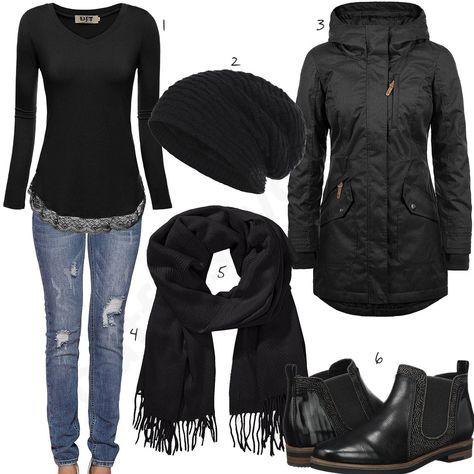 Winteroutfit mit Schal, Mütze und Parka | Schaloutfits