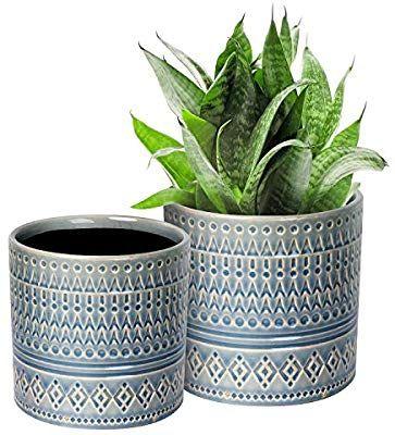 Amazon Com Voeveca Ceramic Flower Pot Garden Planters 6 9 And