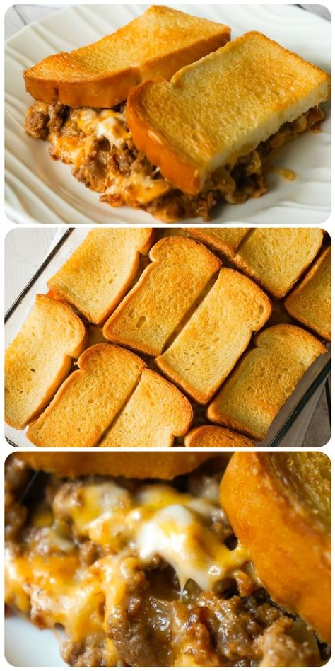 casserole recipes Bacon Cheeseburger Grilled Cheese Casserole is an easy hamburger casserole recipe loaded with ground beef, onions and cheese all sandwiched between layers of toasted bread. Easy Hamburger Casserole, Easy Casserole Recipes, Casserole Dishes, Cheeseburger Casserole, Beef Casserole, Easy Family Recipes, Meat Recipes, Dinner Recipes, Cooking Recipes