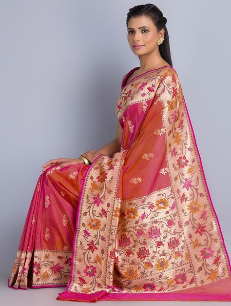Buy Fuschia-Orange Silk Georgette Zari Handwoven Saree by Shah Narayan Das Online at Jaypore.com