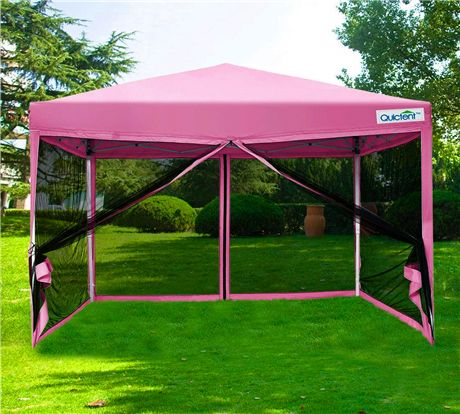 10 X 10 Screen Pink Pop Up Canopy With Mesh Side Wall Canopy Side Wall Pop Up