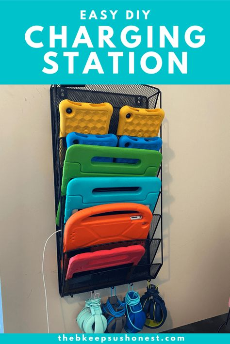 Easy DIY Charging Station for iPads and Tablets – The B Keeps Us Honest Kids School Organization, Storage Organization, Organizing, Homework Organization, Lp Storage, Record Storage, Ipad Charging Station, Charging Stations, Do It Yourself Home