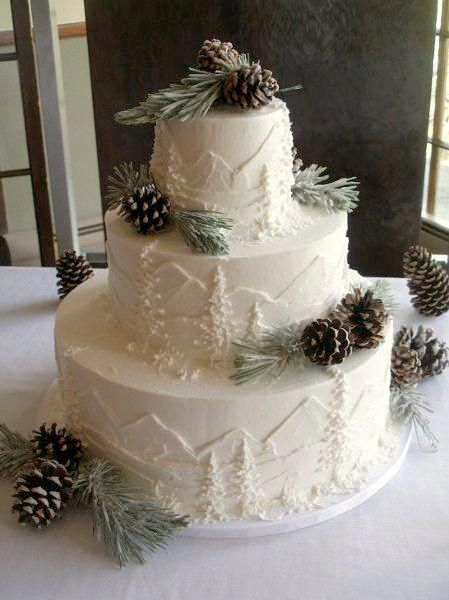 Winter wedding cake inspiration - Love this mountain theme carved into this beautiful ivory coloured cakes. Winter wedding cake inspiration - Love this mountain theme carved into this beautiful ivory coloured cakes. Creative Wedding Cakes, Wedding Cake Designs, Creative Cakes, Wedding Cake Roses, Tree Wedding Cakes, Rustic Wedding Cakes, Snowflake Wedding Cake, Rustic Cake, Wedding Flowers