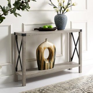 The Gray Barn Kujawa Metal X Sofa Table Grey Wash Entry Table Furniture Sofa Table