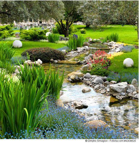 Gartengestaltung Idee Teich Asia Stil Gartenteich Pinterest - naturlicher bachlauf garten