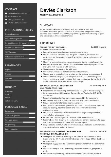 Mechanical Engineering Resume Objectives Awesome 100 Professional Resume Samples For In 2020 Mechanical Engineer Resume Engineering Resume Engineering Resume Templates