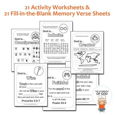 Activity And Memory Verse Worksheets The Attributes Of God For Kids Attributes Of God Verses For Kids Memory Verse