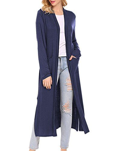 Locryz Women's Long Open Front Duster Cardigan Sweater With