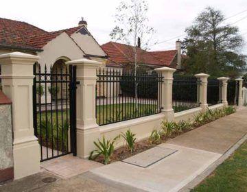 Pillar And Tube Front Fence House Gate Design Brick Columns Model House Plan