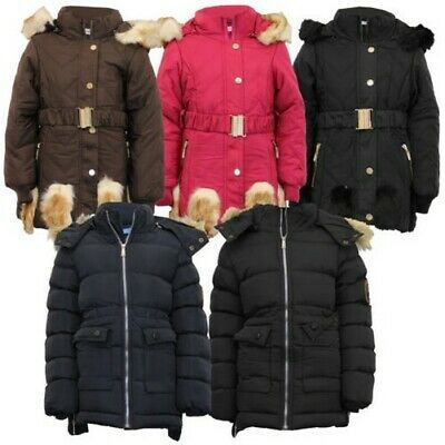 New Girls Kids Padded Quilted Winter Coat Jacket  Fur Hooded Long Parka Coats