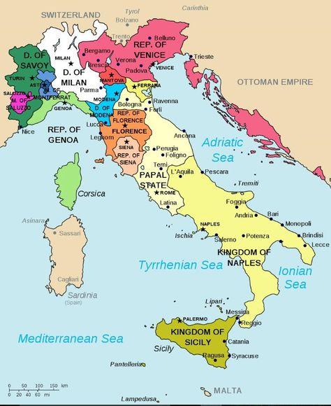 Italia En El Renacimiento Mapa De Italia Historia De Italia