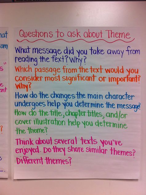 Anchor Chart with questions for students to ask themselves that will help them identify theme. (Dead pin)