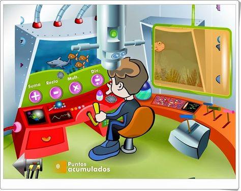 """""""Aventura submarina 2"""" es un juego en el que se practica, en el fondo del mar, el cálculo mental con la cuatro operaciones básicas en cálculos sencillos salvo en que hay un tiempo determinado. Se puede practicar desde 1º, con suma y resta, hasta 5º de Primaria, con la división."""