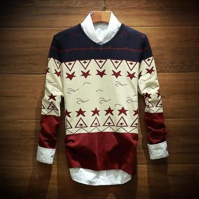 Star Deer Mens Cotton Deer Long-Sleeved Sweater