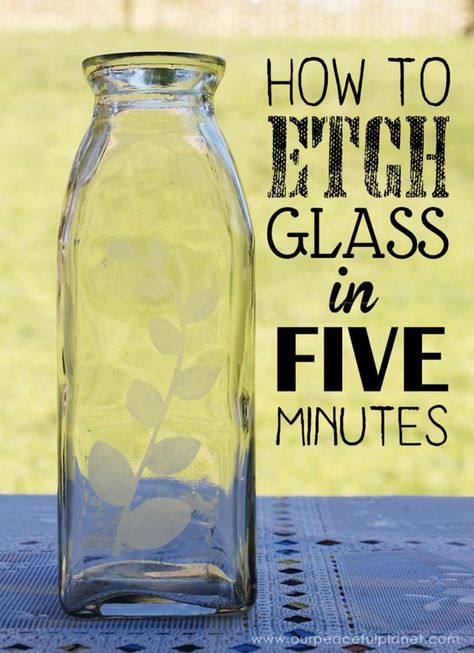 We'll show you how to etch glass and create beautiful designs on almost any type of glass in just a few minutes. You'll be surprised how easy it is! bottle crafts diy How to Etch Glass in 5 Minutes Wine Bottle Art, Wine Bottle Crafts, Mason Jar Crafts, Bottle Lamps, Starbucks Glass Bottle Crafts, Wine Bottle Decorations, Creative Crafts, Easy Crafts, Dog Crafts