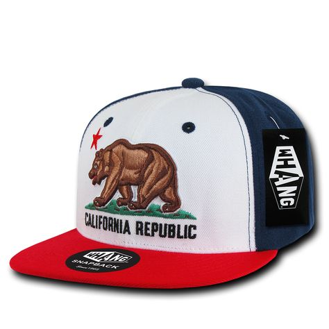 CALIFORNIA REPUBLIC BEAR FLAG EMBROIDERY SNAPBACK HAT CAP ADJUSTABLE COTTON