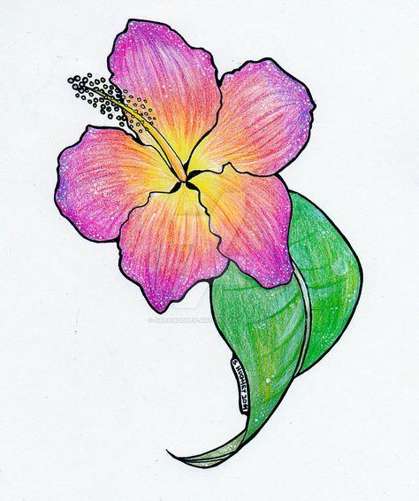 705ae31ab79f4 Sunset Hibiscus Tattoo by sarahughey-art on DeviantArt | Hibiscus ...