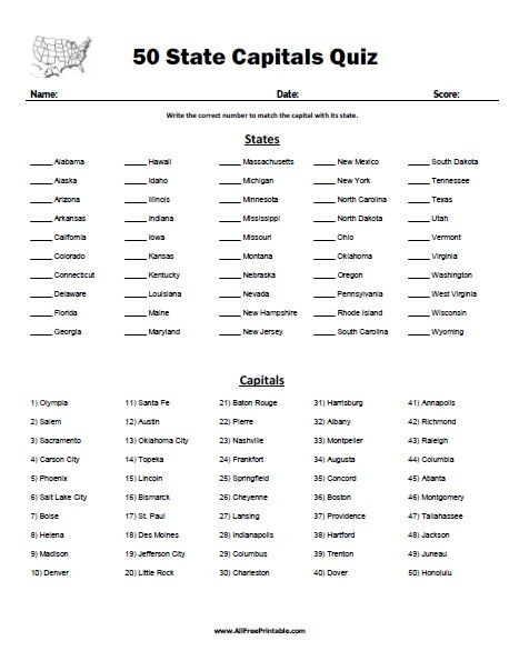 Free Printable 50 State Capitals Quiz Free Printable 50 State Capitals Quiz A Fun Educational Matc State Capitals Quiz States And Capitals State Capitals Map State capitals printable quiz