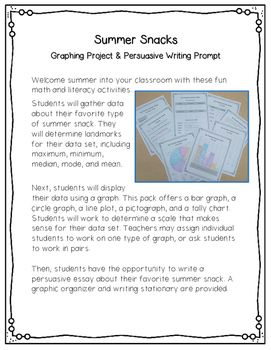Summer Snacks Graphing Projects & Writing Prompt | End of