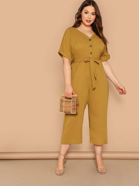To find out about the Plus Button Front Belted V-neck Jumpsuit at SHEIN, part of our latest Plus Size Jumpsuits ready to shop online today!