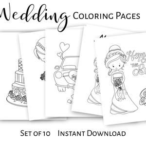 Wedding Coloring Pages Printable Activity Bride Groom Etsy In 2021 Wedding With Kids Wedding Coloring Pages Kids Table Wedding