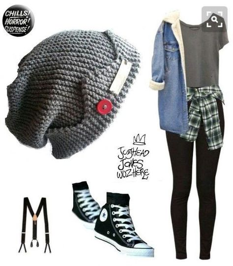 Jughead Jones Slouchy Style Hat Hand Knit Medium Grey Teen to Adult Red Button* Handmade Fabric Tag… Teen Fashion Outfits, Edgy Outfits, Cute Casual Outfits, Swag Outfits, Grunge Outfits, Dance Outfits, Outfits For Teens, Girl Outfits, Pop Punk Fashion