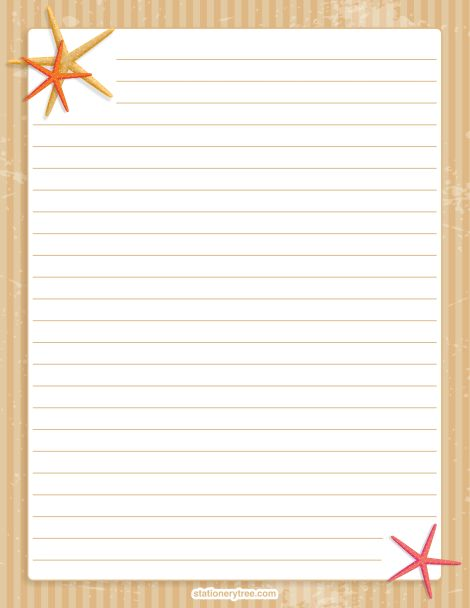 Printable Starfish Stationery And Writing Paper Free Pdf