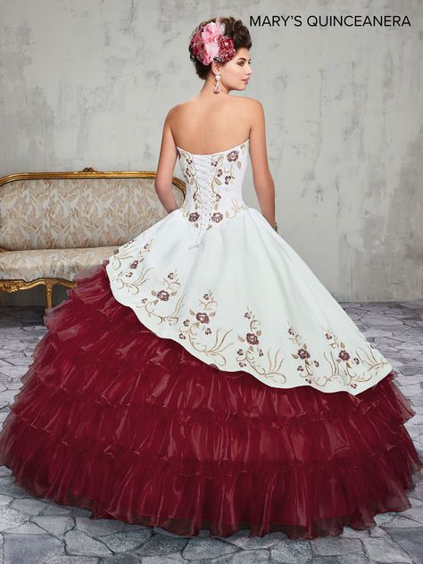 Floral Charro Quinceanera Dress by Mary's Bridal 4Q2015