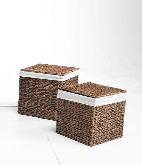 Korbe Behalter Truhen 2er Set M Braun Aus Wasserhyazinthe 36x36x36 Quadratisch Aufbewahrungstruhe Aufbewahrungskisten Aufbewahrungsbox