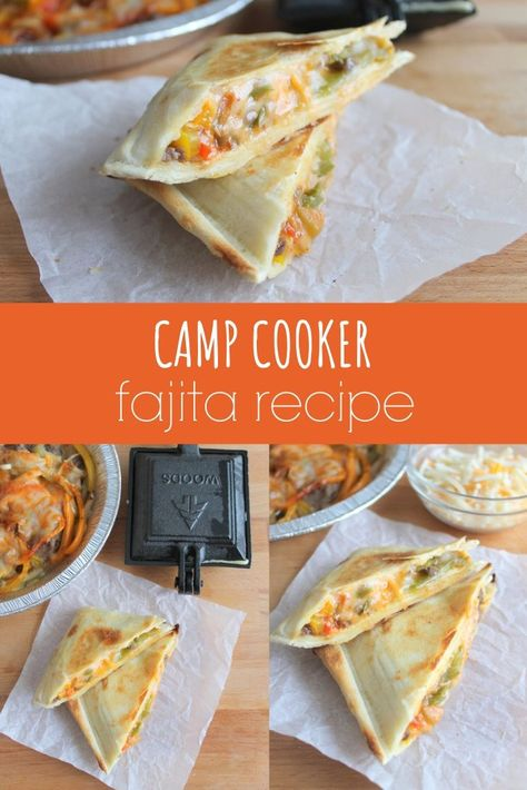 This delish camp cooker fajita recipe is perfect for camping! Simply layer the ingredients in a tortilla and cook over the campfire. Camping Menu, Tent Camping, Camping Ideas, Camping Recipes, Food For Camping, Camping Hacks, Glamping, Pie Iron Cooking, Dutch Oven Cooking