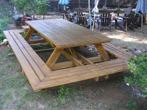 These picnic tables are built to be family heirlooms. My tables are made from California Construction Heart Redwood and designed to accommodate a dozen adults. (shown in cedar) The wrap-around attached benches are a unique feature to my thru-bolt picnic tables. They're 15 inches deep and can hold
