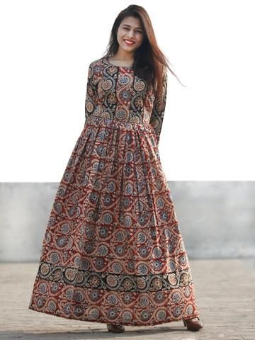 Red Black Beige Indigo Hand Block Printed Long Cotton Dress With Gathers - D183F1151