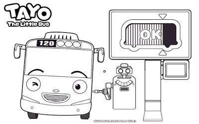 Mewarnai Gambar Tayo The Little Bus Mengisi Bensin Tayo Coloring Tayo Coloring Pages Tayo The Little Bus