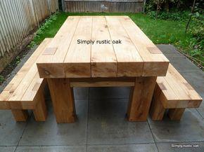 Rustic Oak Beam Garden Table 2 Oak Garden Furniture Wooden Garden Furniture Diy Garden Furniture