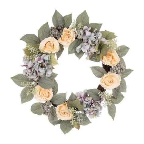 Feel like spring all year round with the Dalia hydrangea and rose wreath. This wreath features bright hydrangea and rose blooms backed by contrasting green leaves. Display this colorful decoration on doors, walls and windows in indoor or covered outdoor locations. The vibrant colors of this wreath blends well with any decor from rustic to modern.