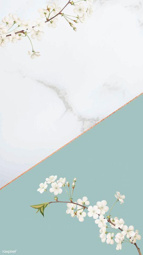 Tiny white flower on  turquoise background mockup vector | premium image by rawpixel.com / Adj / HwangMangjoo