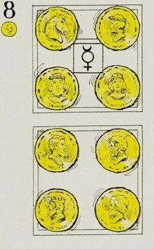 Eight of Pentacles Card Key Interpretations: Stoic (Tarot - Pentacles) Strong (Tarot - Pentacles) Unconventional (Tarot - Pentacles) #fibibishop #fibibishoptarot #tarot #tarotcards #eightofpentacles
