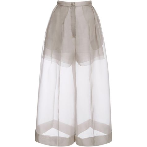 DELPOZO Organza Pant With Side Pleats (8,915 HKD) ❤ liked on Polyvore featuring pants, bottoms, skirts, shorts, see through pants, pleated pants, sheer pants, crop pants ve cropped trousers