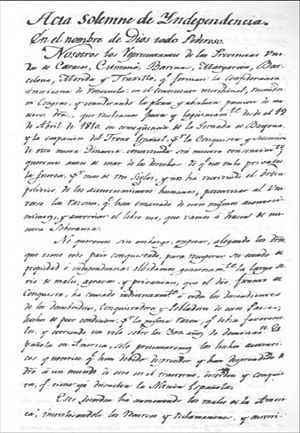 Acta De La Declaracion De Independencia De Venezuela La Independencia De Venezuela Efemerides De Venezuela Venezuela