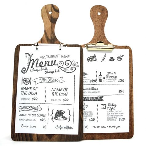 Die Cut Printed Wooden Clip Boards. Wooden menus, wooden menu boards, menu displays and restaurant products.