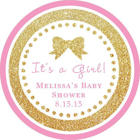 It's a Girl! Gold Glitter Pink round sticker label / cupcake topper / thank you tags for birthday party, baby shower, PERSONALIZED