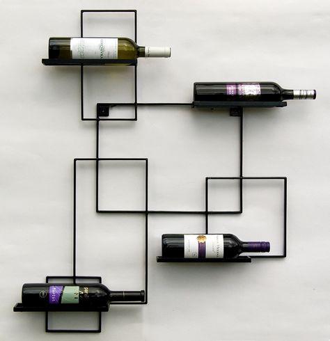 Scaffale A Muro Metallo.Scaffale Vini A Parete Black Line Supporto Bottiglie In Metallo