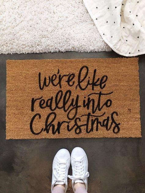 Christmas Door mat Holiday Doormat Christmas Decor Welcome image 1 Christmas Doormat, Christmas Porch, Christmas Time Is Here, Christmas Mood, Merry Little Christmas, Christmas House Decorations, Winter Decorations, Classroom Christmas Decor, All Things Christmas