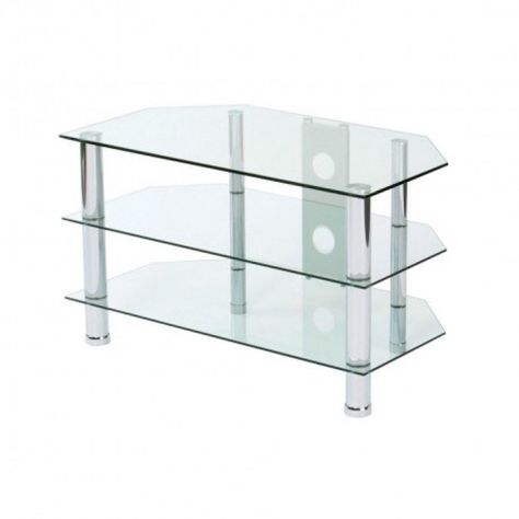 new product 3f277 b2a07 3 TIER CLEAR GLASS TV STAND | Poundstretcher | Living room ...