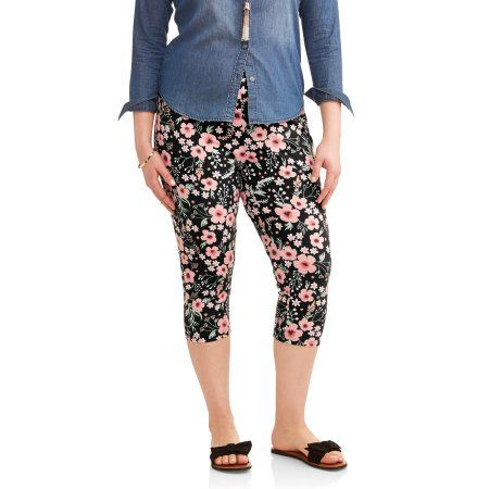 f85875f0755 Terra   Sky Women s Plus Printed Essential Knit Capri Leggings ...