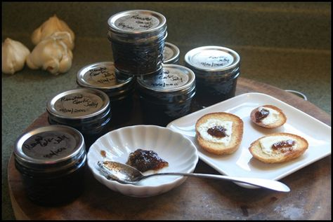 Roasted garlic jelly from Barefoot Kitchen Witch. This was DELICIOUS!! *Used one box of pectin.*